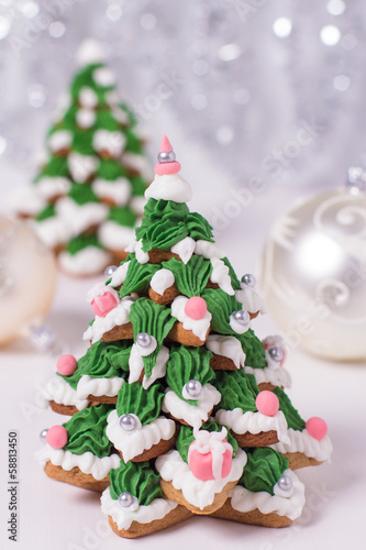 Two Frosted Gingerbread Cookies Stacked As Christmas Trees Stock