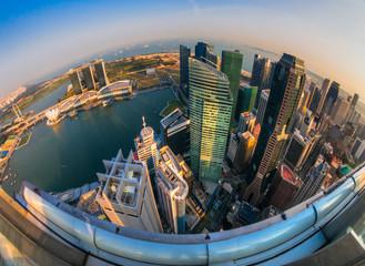 Foto op Canvas Singapore Singapore city skyline at sunset.