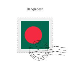Bangladesh Flag Postage Stamp.