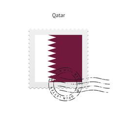 Qatar Flag Postage Stamp.