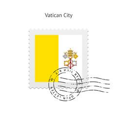 Vatican City Flag Postage Stamp.