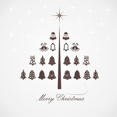 Stylized design Christmas tree with bells