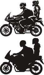 Fotomurales - couple on motorcycle