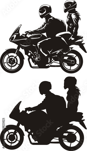 Fototapete couple on motorcycle