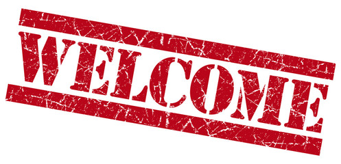 Welcome red grunge damaged stamp on white background