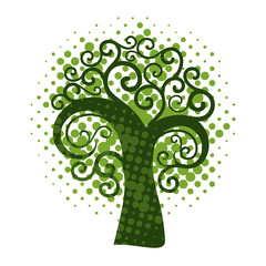 Grunge swirly tree
