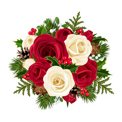 Christmas bouquet with roses. Vector illustration.