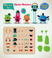 Vector Freaky Hipster Monsters Set, Funny Illustration