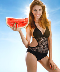 Sexy woman with watermelon slice