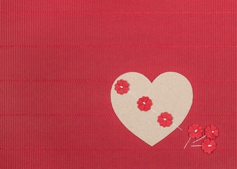 Red background with heart and flowers