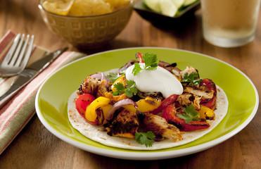 chicken and vegetable fajita.