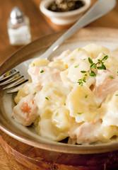 tortellini with salmon and cream sauce.