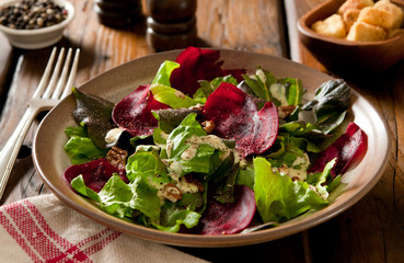 winter salad with beets and toasted pecan nuts.