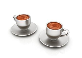 Coffee cups on saucer