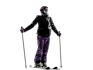 one woman skier skiing happy smiling  silhouette