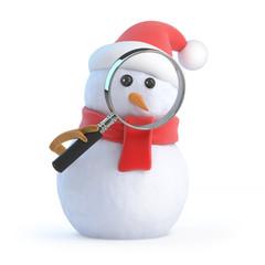 Santa snowman peers through a magnifier