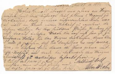 Old german handwriting - circa 1881