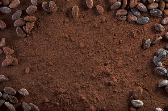 Kakaopulver und Kakaobohnen Hintergrund Textfreiraum