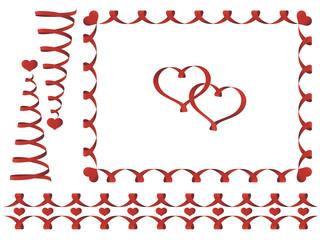 Set of Valentine's day ribbons