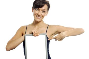 Woman holding wipe board
