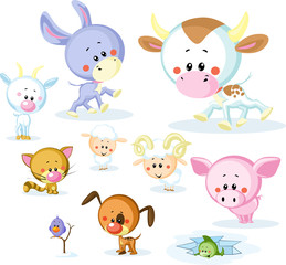 vector farm animals - cow, pig, goat, ram, sheep, cat and dog