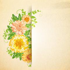 Wall Mural - Wreath of beautiful summer flowers.