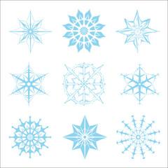 Nine snowflakes in JPEG