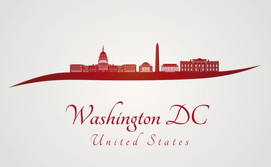 Washington DC skyline in red