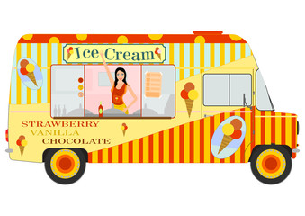 Ice cream van with girl inside