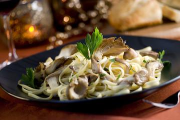 linguine pasta with fresh oyster mushroom cream sauce.