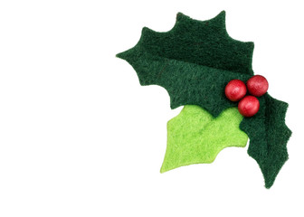 Christmas holly with red berries isolated
