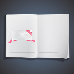 Empty envelope with red ribbons printed on book