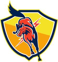 Red Horse Jump Lightning Bolt Shield Retro