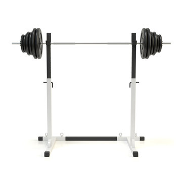 Squat rack. Adjustable barbell stand. Bench press station