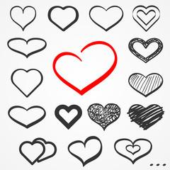 Sketch hearts set