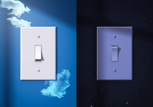 light switches turned on and off