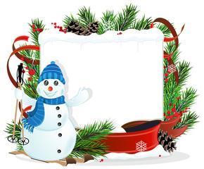 Snowman and Christmas wreath