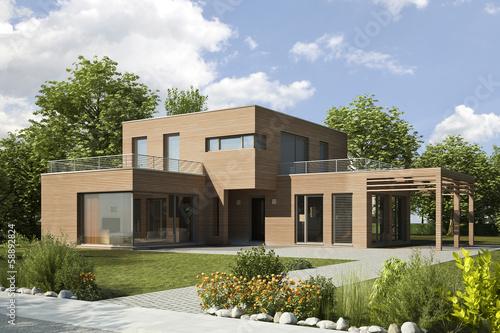 Einfamilienhaus modern holz stockfotos und lizenzfreie for Einfamilienhaus modern