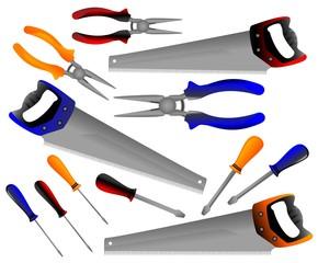construction tools, shovel, shears