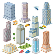 Isometric views of city skyline with trees and transport
