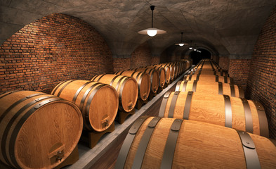 cellar with wooden barrels II