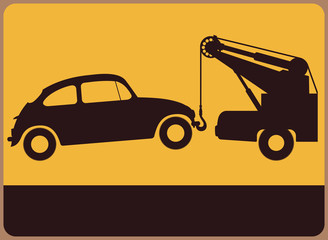 Retro information plate with tow truck
