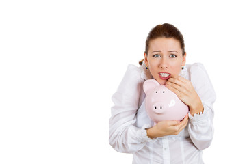 Attractive woman holding piggy bank, protecting savings