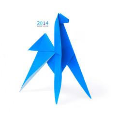 Origami blue horse
