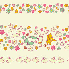 Seamless spring border with easter eggs