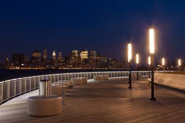 New York - Manhattan skyline  view by night from Hoboken waterfr
