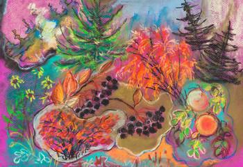 children drawing - autumn forest