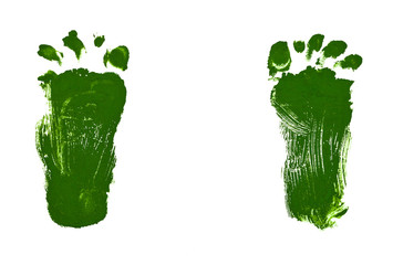 children drawing - green footsteps