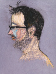 children drawing - man with glasses