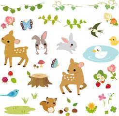 森の小動物と草花